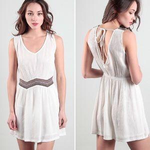 NWT embroidered waist boho dress cotton large